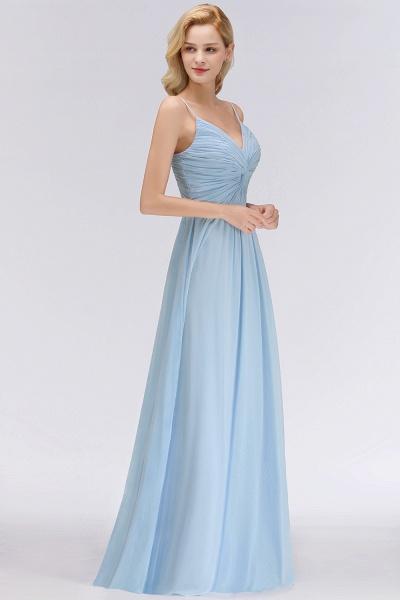 A-Line Chiffon V-Neck Spaghetti Straps Floor-Length Bridesmaid Dresses_4