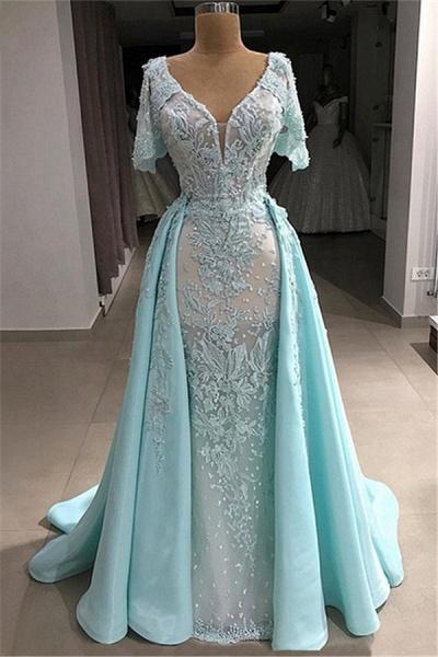 Graceful V-neck Tulle A-line Evening Dress_1