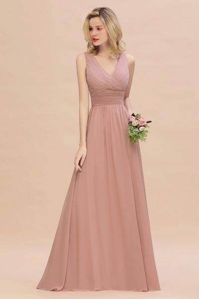 BM0752 Elegant A-line V-Neck Ruffles Long Bridesmaid Dress_5