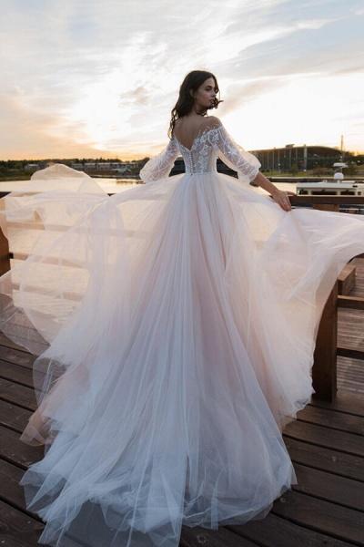 Eye-catching Lace Tulle Chapel Train Wedding Dress_3