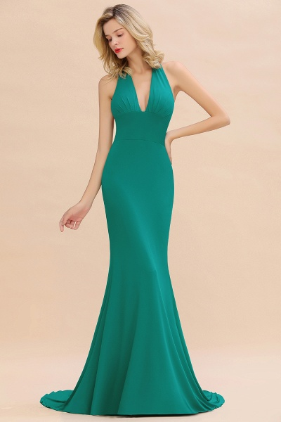 BM0670 Elegant Mermaid Halter Pool V-neck Bridesmaid Dress_34