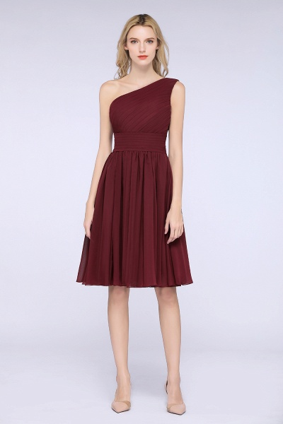 A-Line Chiffon One-Shoulder Sleeveless Knee-Length Bridesmaid Dress with Ruffles_1