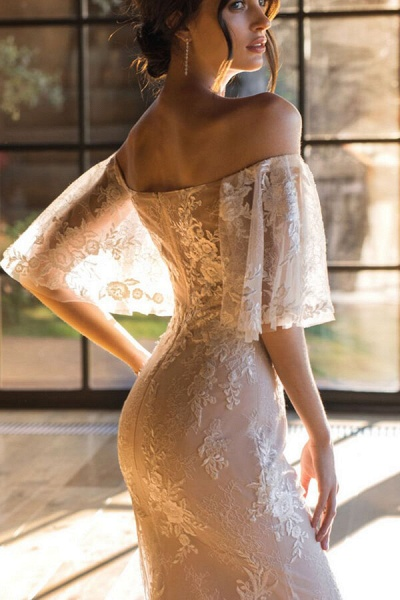 Awesome Off-the-shoulder Lace Sheath Wedding Dress_5