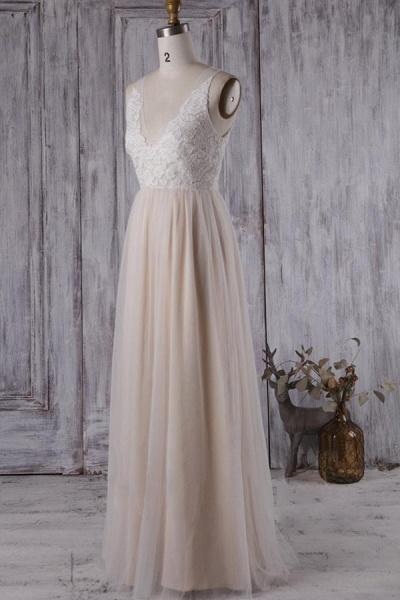 Elegant V-neck Lace A-line Wedding Dress_4