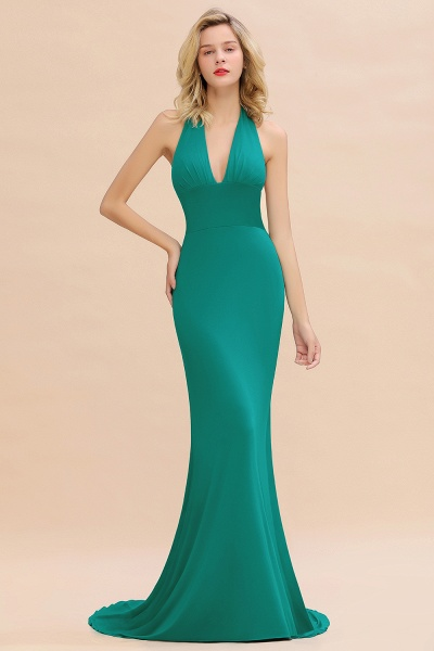 BM0670 Elegant Mermaid Halter Pool V-neck Bridesmaid Dress_33
