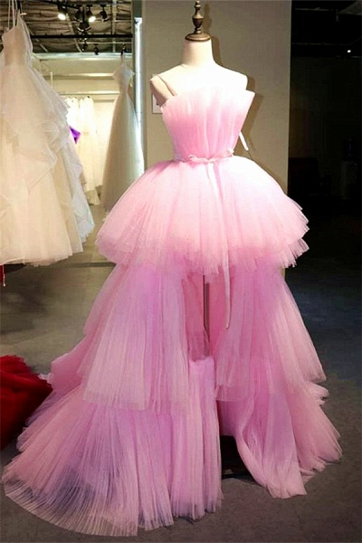 Latest Strapless Tulle Evening Dress_1