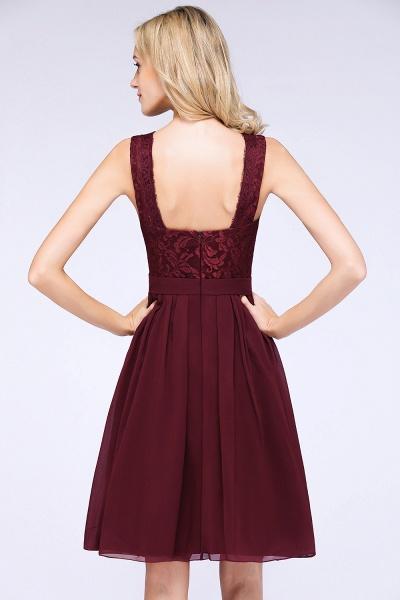 A-Line Chiffon Lace V-Neck Sleeveless Knee-Length Bridesmaid Dress with Ruffles_6