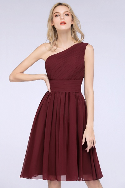 A-Line Chiffon One-Shoulder Sleeveless Knee-Length Bridesmaid Dress with Ruffles_3
