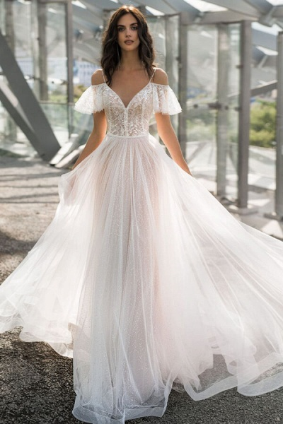 Glorious Cold-shoulder Chapel Train Wedding Dress_1