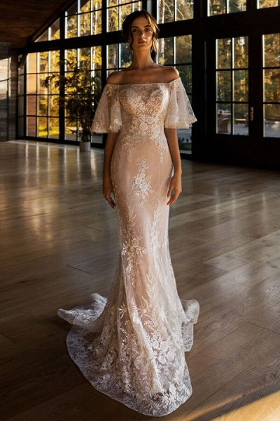 Awesome Off-the-shoulder Lace Sheath Wedding Dress_1