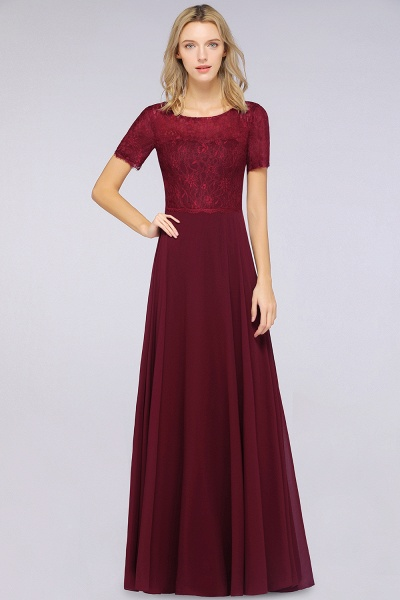 A-Line Chiffon Lace Round-Neck Short-Sleeves Floor-Length Bridesmaid Dress_1