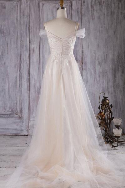 Elegant Cold-shoulder Sweep Train Wedding Dress_4
