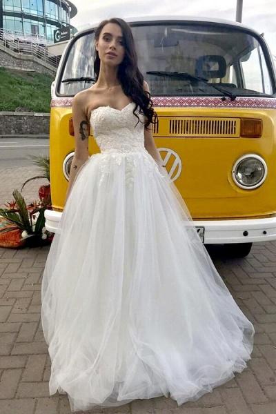 Amazing Appliques Tulle Chapel Train Wedding Dress_9