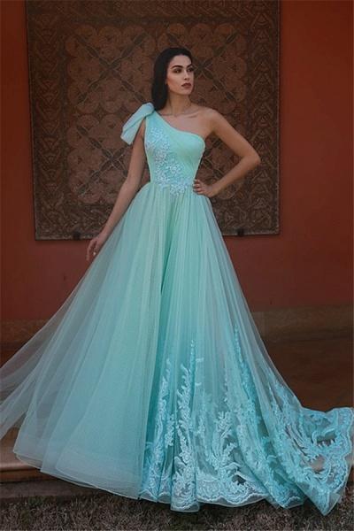 Fascinating One Shoulder Tulle A-line Evening Dress_1