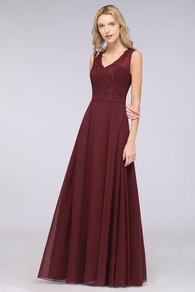 A-Line Chiffon Lace V-Neck Sleeveless Floor-Length Bridesmaid Dress_39