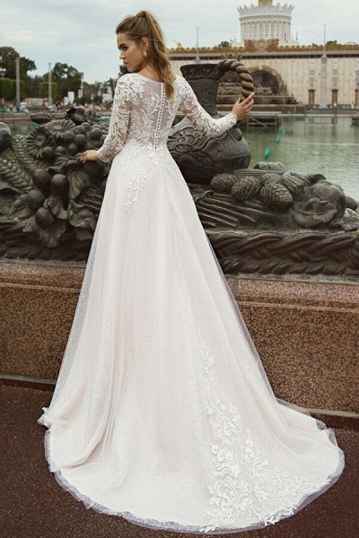 Glorious Long Sleeve Appliques A-line Wedding Dress_3