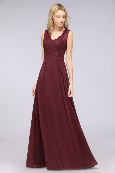 A-Line Chiffon Lace V-Neck Sleeveless Floor-Length Bridesmaid Dress_38