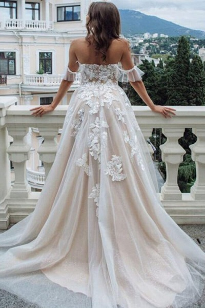 Appliques Court Train A-line Tulle Wedding Dress_3