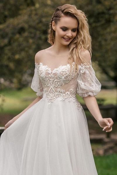 Elegant Half-sleeve Appliques Tulle Wedding Dress_4