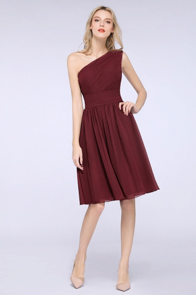 A-Line Chiffon One-Shoulder Sleeveless Knee-Length Bridesmaid Dress with Ruffles_7