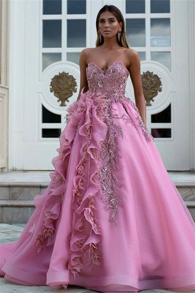 Latest Sweetheart Tulle Ball Gown Evening Dress_1