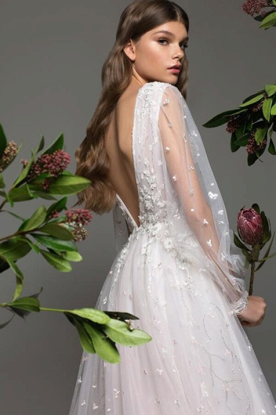 Long Sleeve Chapel Train Tulle A-line Wedding Dress_4