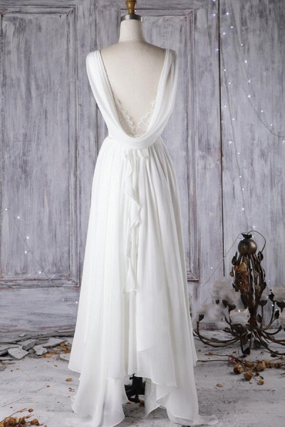 Affordable Asymmetric Lace Chiffon Wedding Dress_3