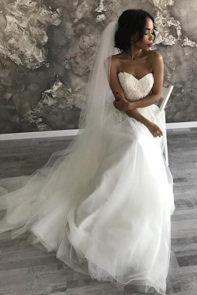 Amazing Appliques Tulle Chapel Train Wedding Dress_6