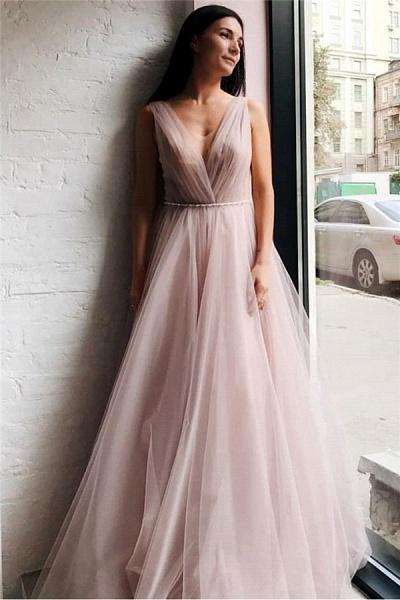 Affordable V-neck Tulle A-line Evening Dress_1