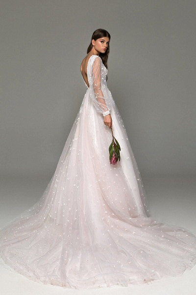 Long Sleeve Chapel Train Tulle A-line Wedding Dress_3