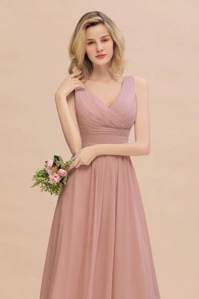 BM0752 Elegant A-line V-Neck Ruffles Long Bridesmaid Dress_8