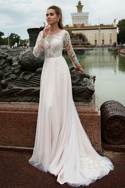 Glorious Long Sleeve Appliques A-line Wedding Dress_1