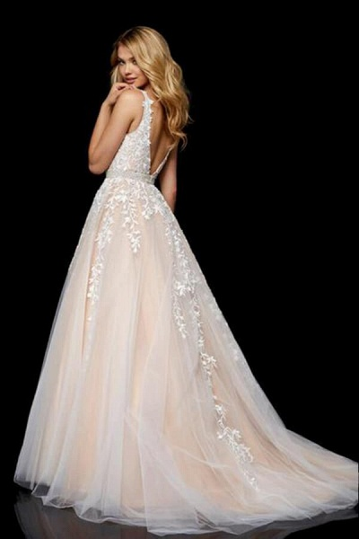 Appliques Tulle V-neck A-line Wedding Dress_6