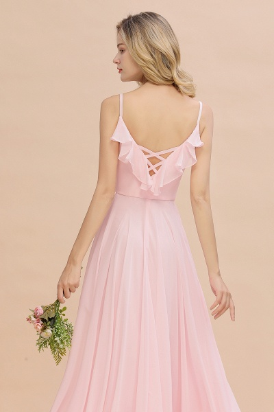BM0784 Stylish Straps V-neck A-line Long Bridesmaid Dress_9