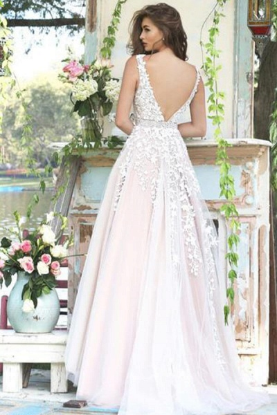 Appliques Tulle V-neck A-line Wedding Dress_4