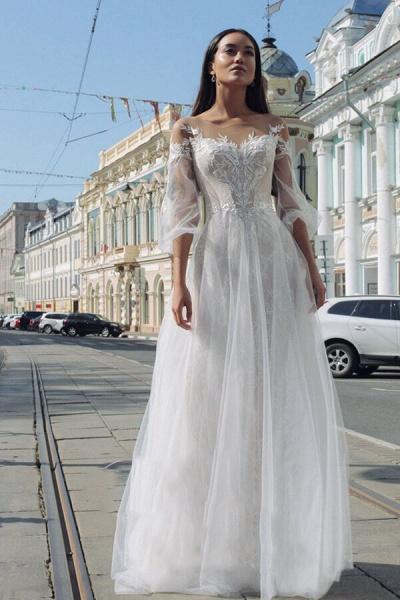 Latest Court Train Tulle Appliques Wedding Dress_1