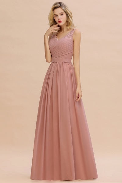 Eye-catching V-neck Lace A-line Evening Dress_10