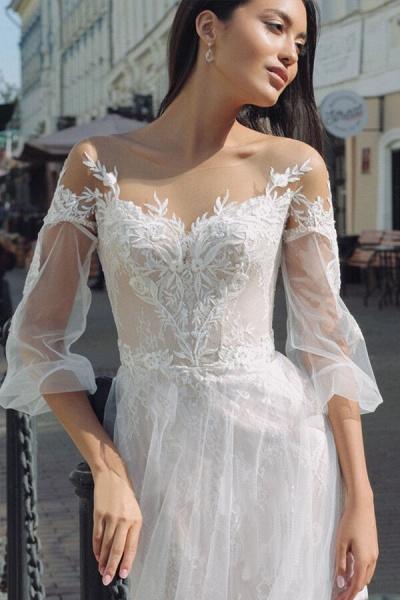 Latest Court Train Tulle Appliques Wedding Dress_4