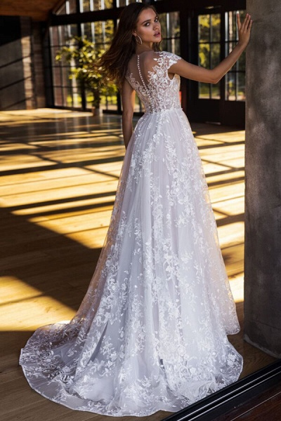 Charming Cap Sleeve A-line Tulle Wedding Dress_3