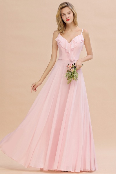 BM0784 Stylish Straps V-neck A-line Long Bridesmaid Dress_2