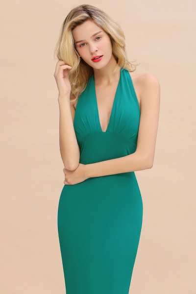 BM0670 Elegant Mermaid Halter Pool V-neck Bridesmaid Dress_37