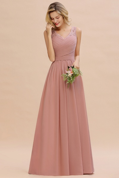 Eye-catching V-neck Lace A-line Evening Dress_12