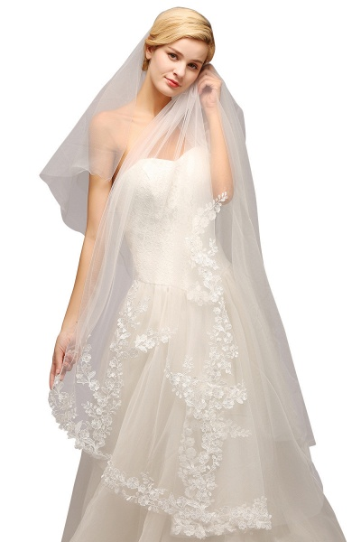 Excellent Lace Tulle Cathedral Wedding Veils_4