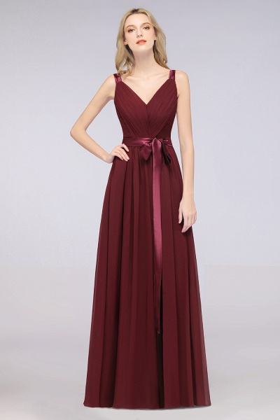 A-Line Chiffon Straps V-Neck Sleeveless Backless Floor-Length Bridesmaid Dress with Ruffles_35