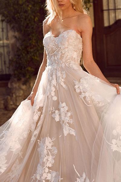Elegant Chapel Train Appliques Tulle Wedding Dress_4