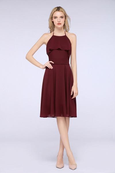 A-Line Chiffon Halter Sleeveless Knee-Length Bridesmaid Dress with Ruffles_5