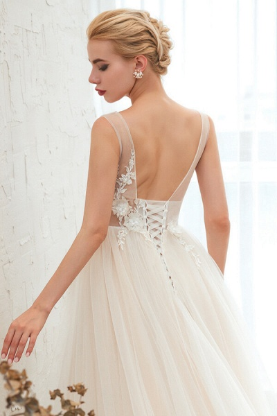 Awesome V-neck Chapel Train Tulle Wedding Dress_7