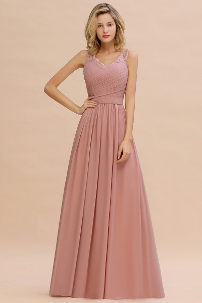Eye-catching V-neck Lace A-line Evening Dress_11