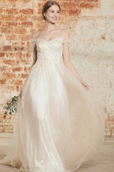 Elegant Cold-shoulder Sweep Train Wedding Dress_1