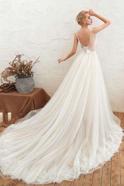 Awesome V-neck Chapel Train Tulle Wedding Dress_3